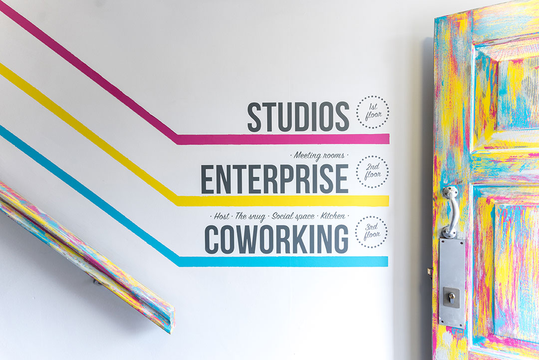 Studios, Enterprise & Coworking and our colourful door | Redbrick House
